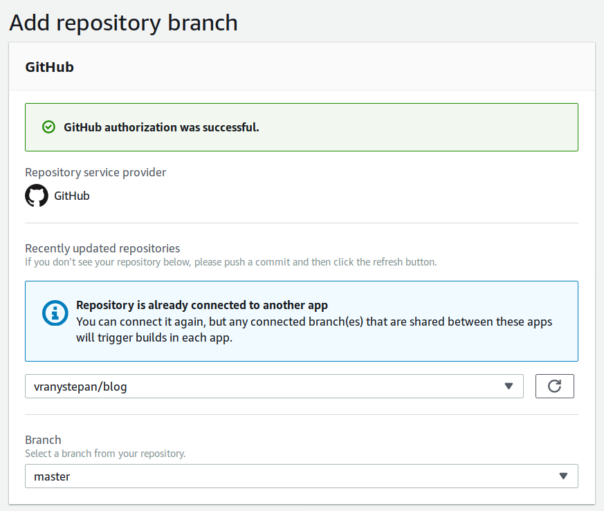 select git project and branch